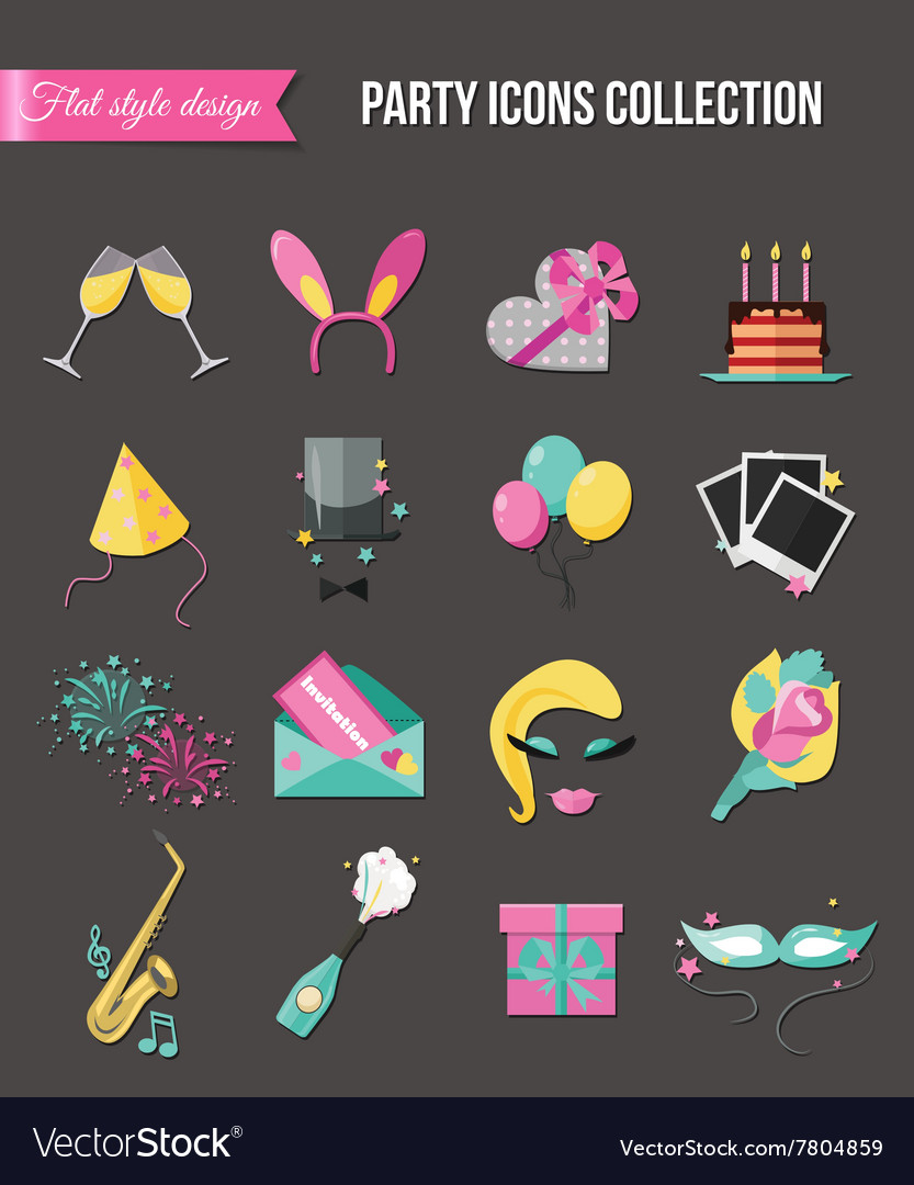 Holiday and party icons set with colorful balloons