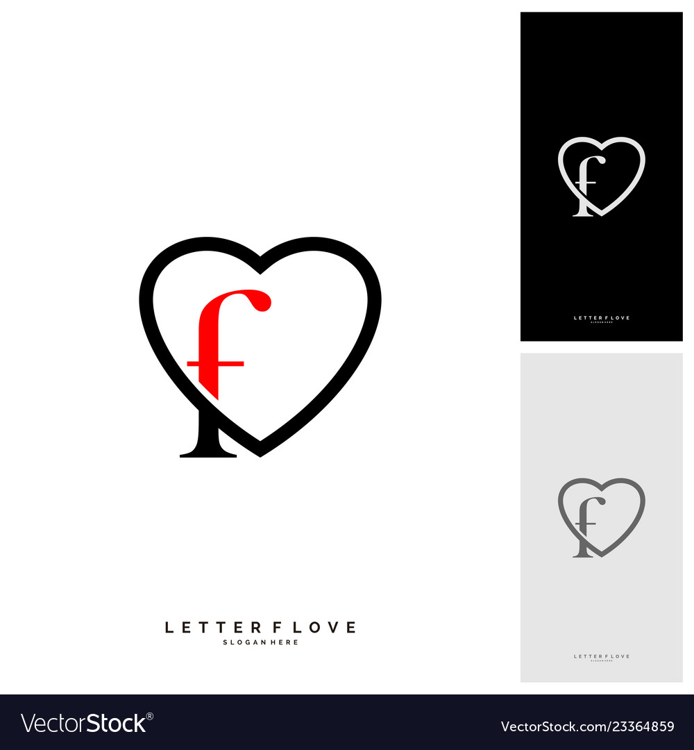 Letter F Heart Logo Icon Design Template Elements Vector Image