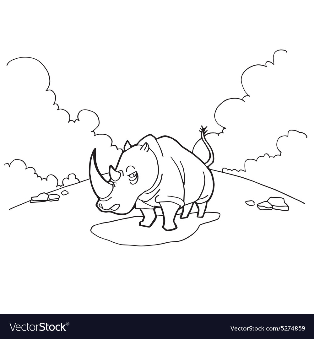 Printable coloring sheet with funny rhino | 1080x1000