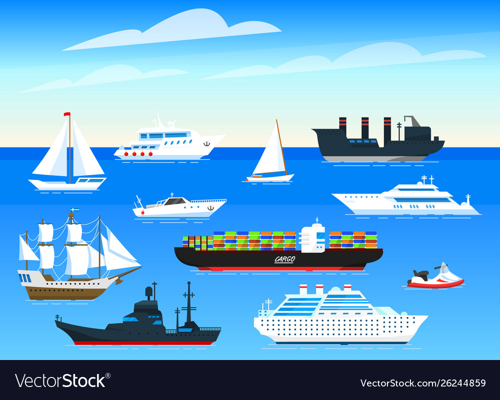 Sea ships background set sailboats and cargo