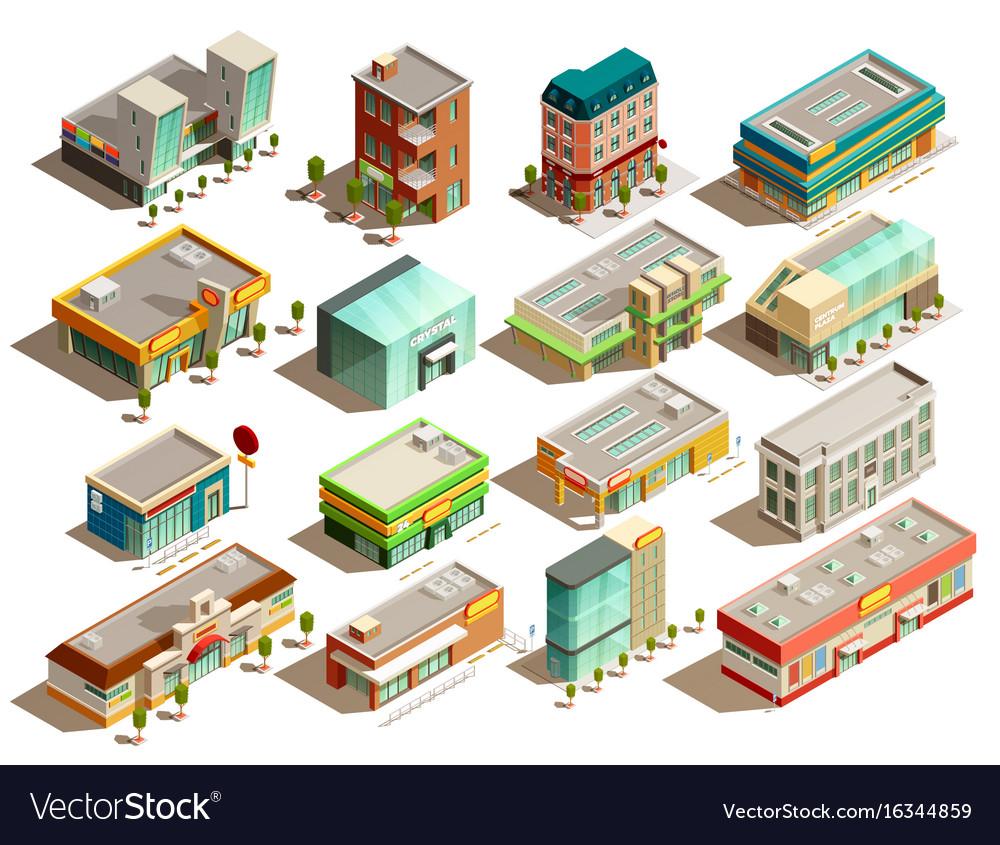 Store buildings isometric icons set