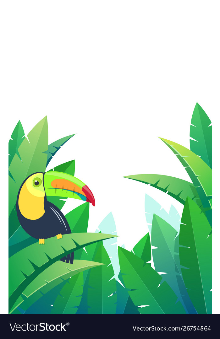 Background with bird toucan on palm leaves