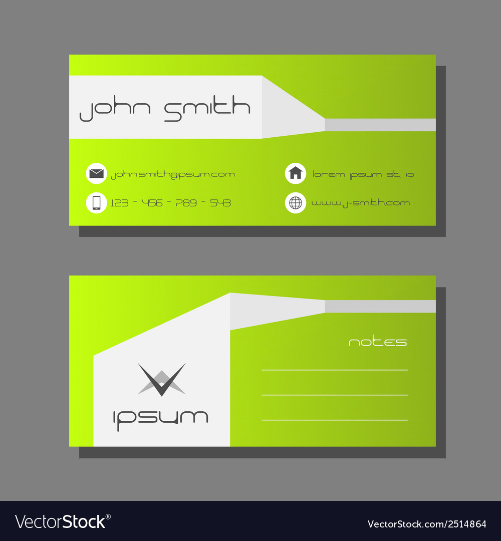 Business card template green and white design vector image friedricerecipe Images