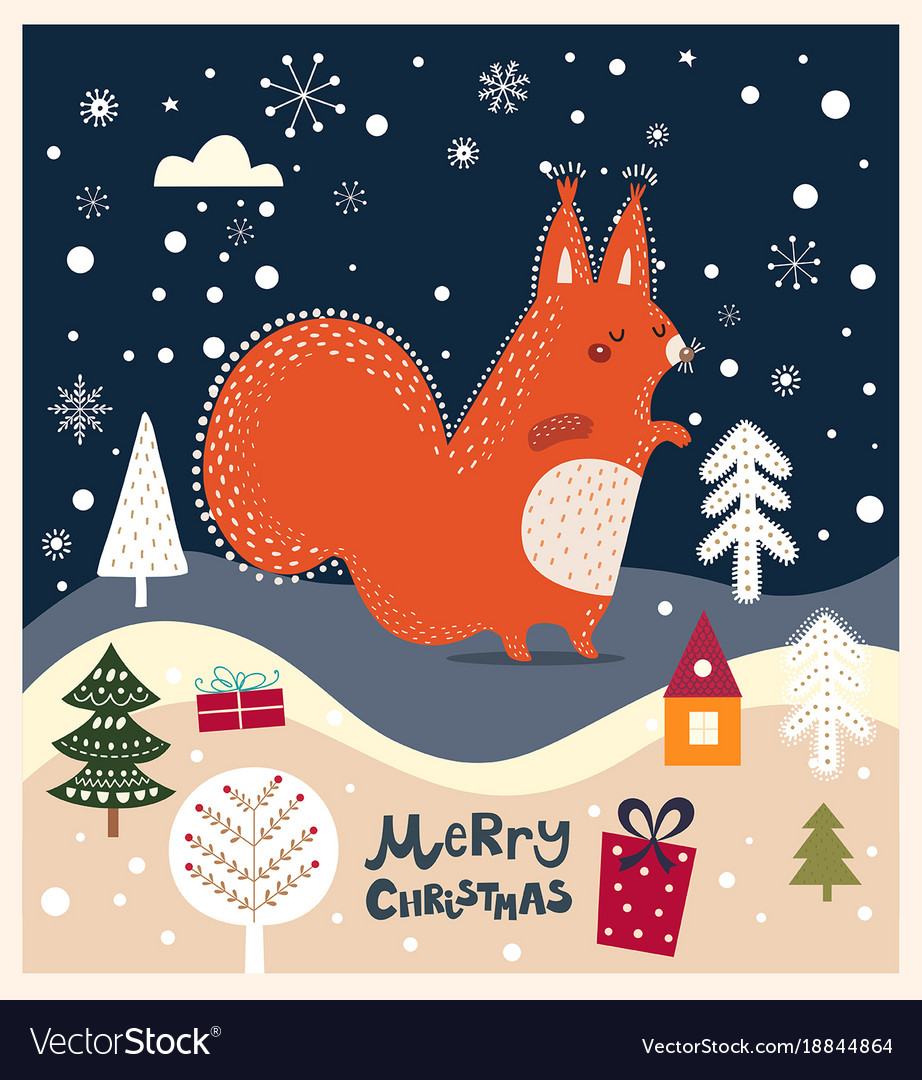 Christmas card with squirrel