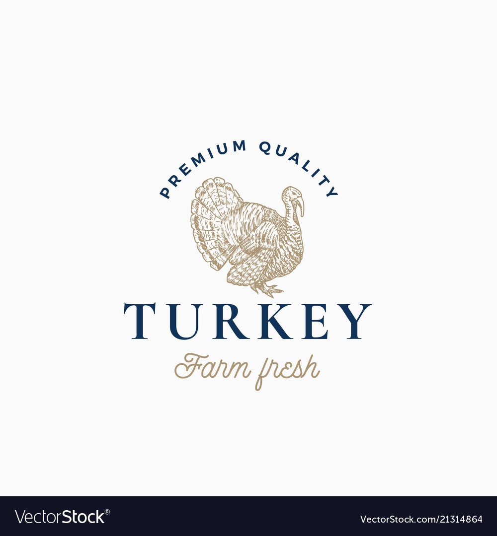 Farm turkey abstract sign symbol or logo