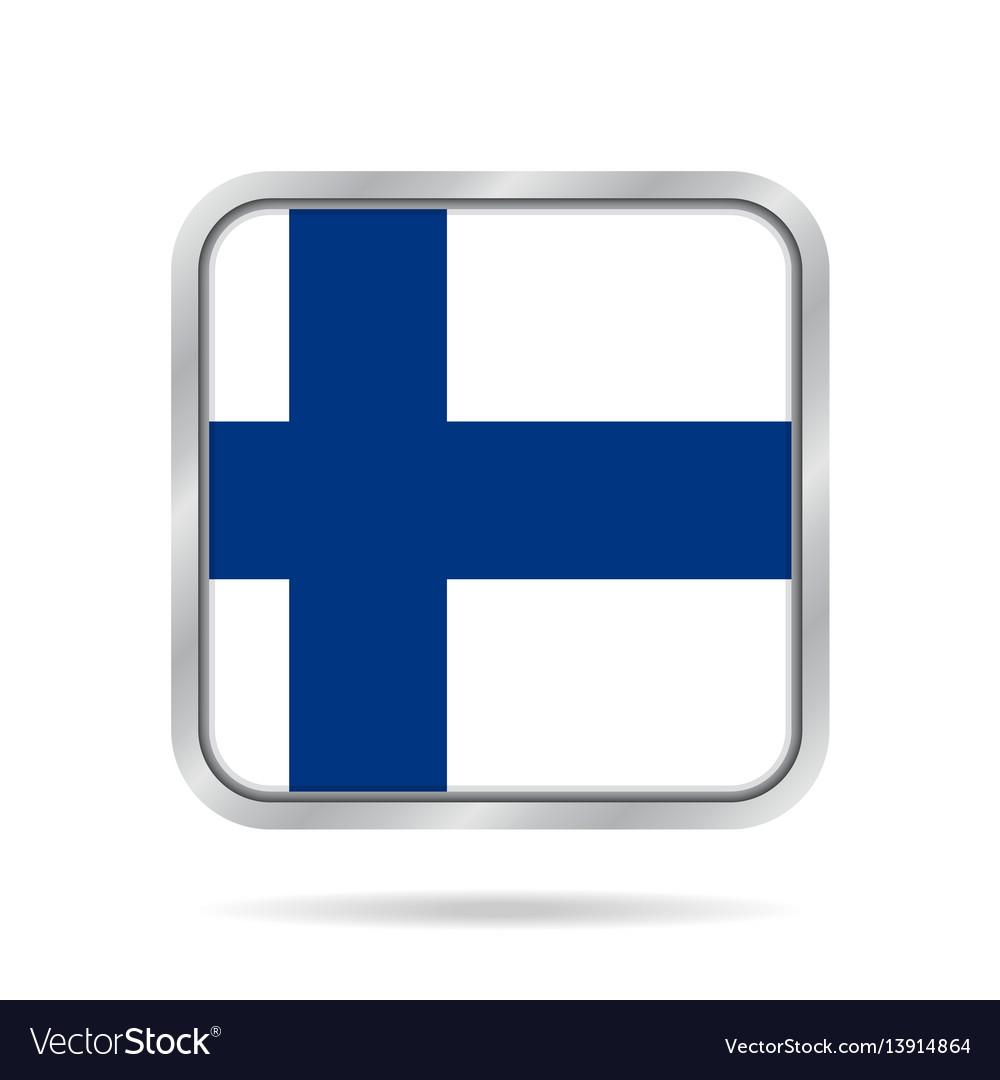 Flag of finland shiny metallic gray square button