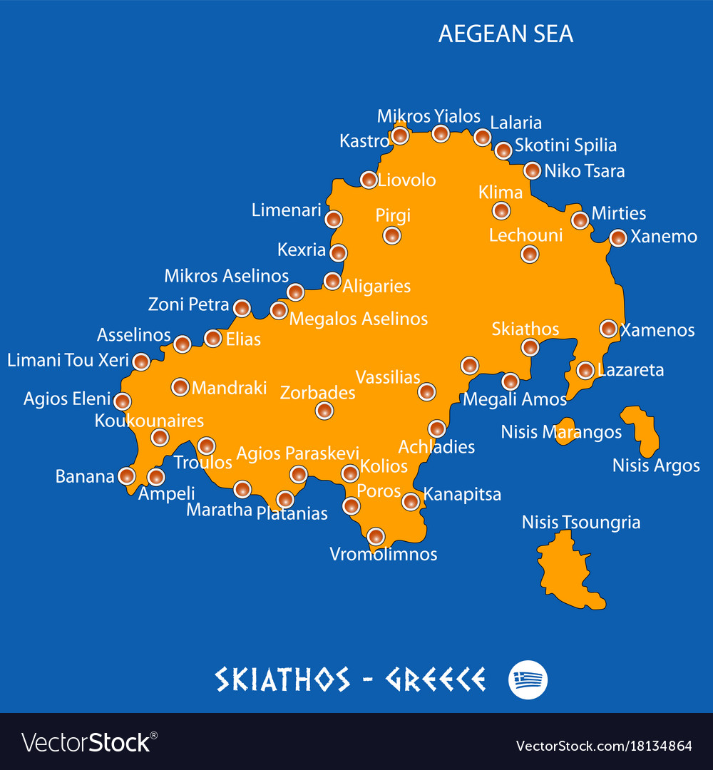 Island Of Skiathos In Greece Orange Map And Blue