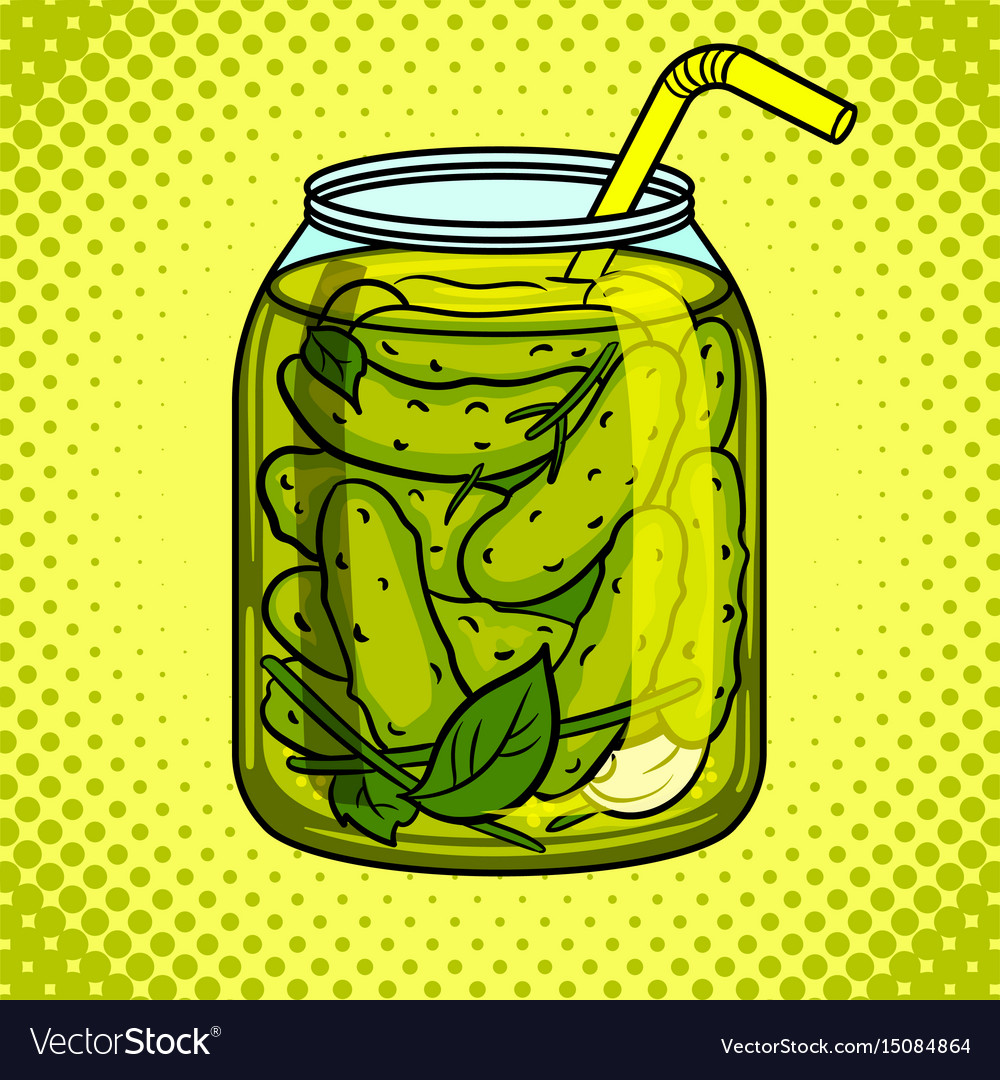 Jar with pickled cucumbers pop art