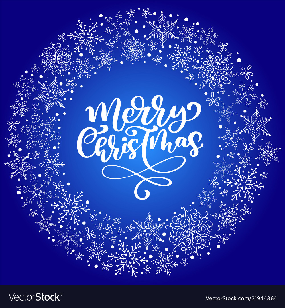 Merry christmas calligraphy text with