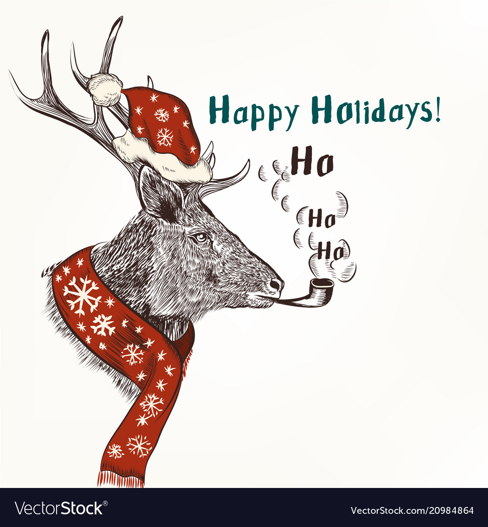 New year and christmas humor background with deer Vector Image