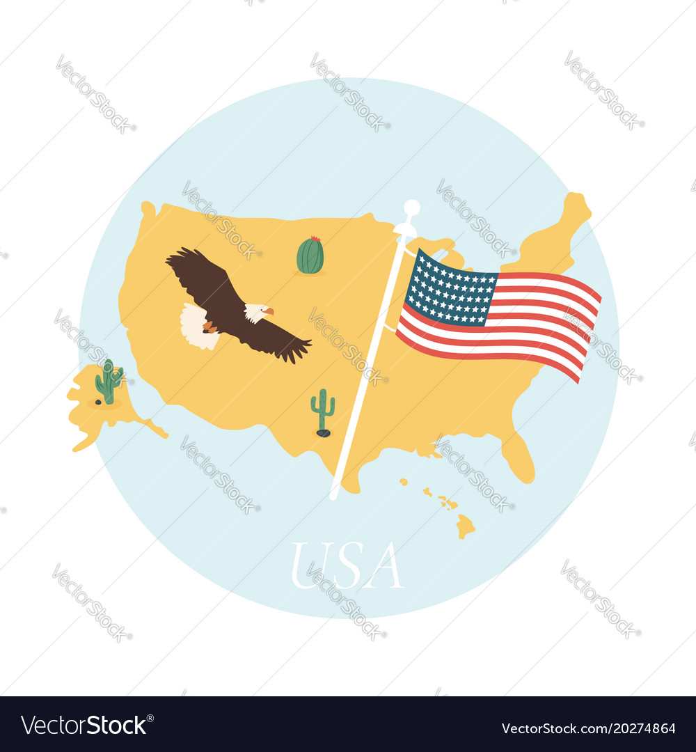 Poster with usa map and americas symbols