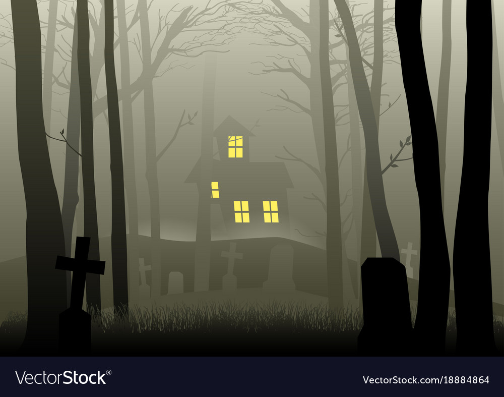 Scary house and cemetery in the dark woods