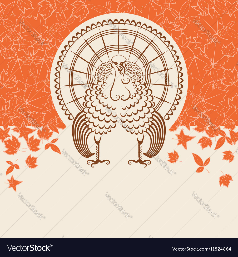 Turkey bird for Thanksgiving day card for text
