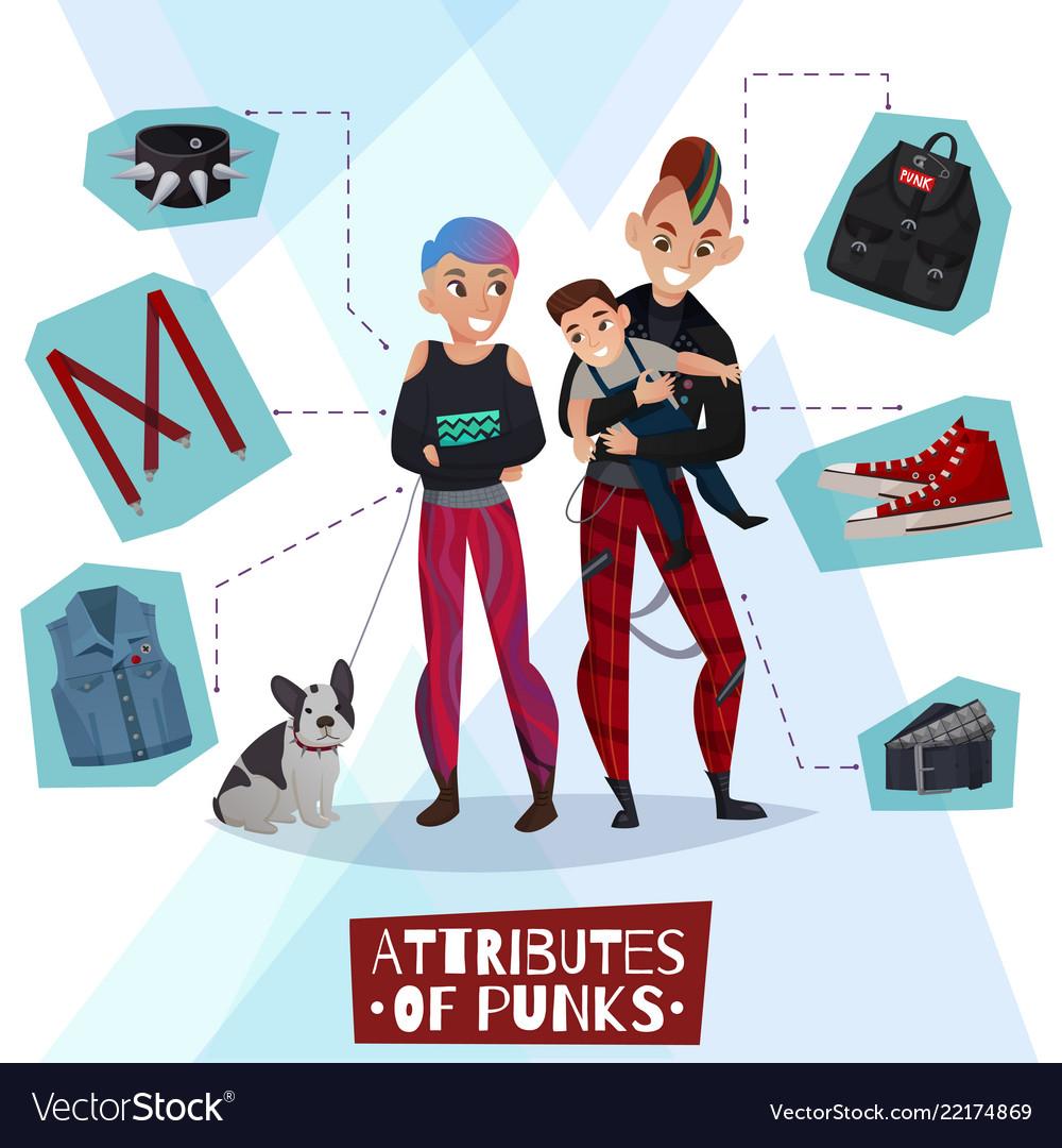 Attributes of punks cartoon
