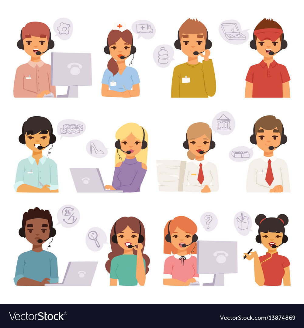 Call center agents cartoon business people with