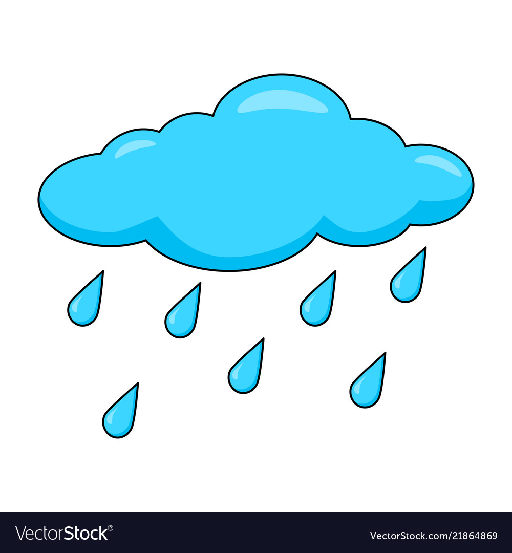 Cartoon cloud with rain drops isolated on white Vector Image