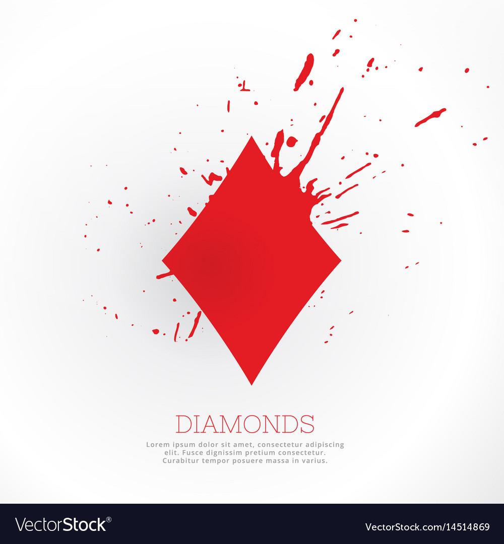 Diamond shape with ink splatter vector image
