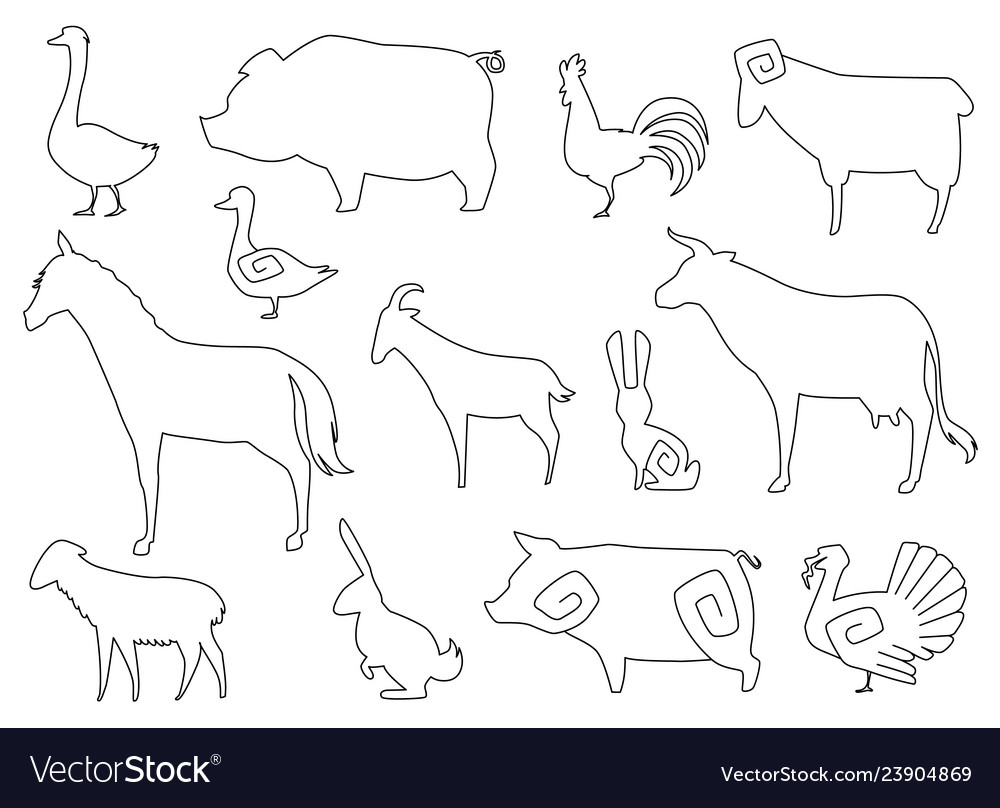 Farm animals silhouettes for coloring book
