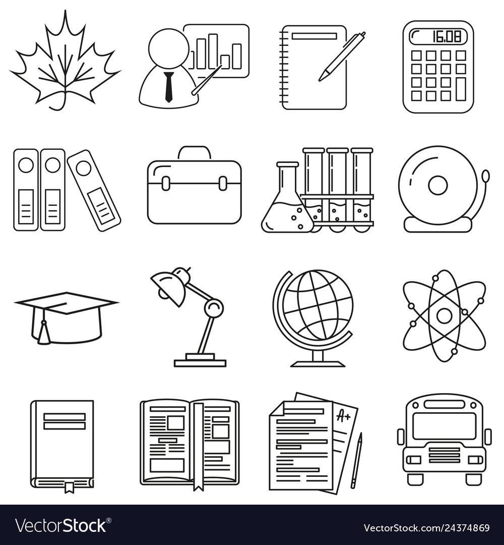 Icons on the school theme set on a white
