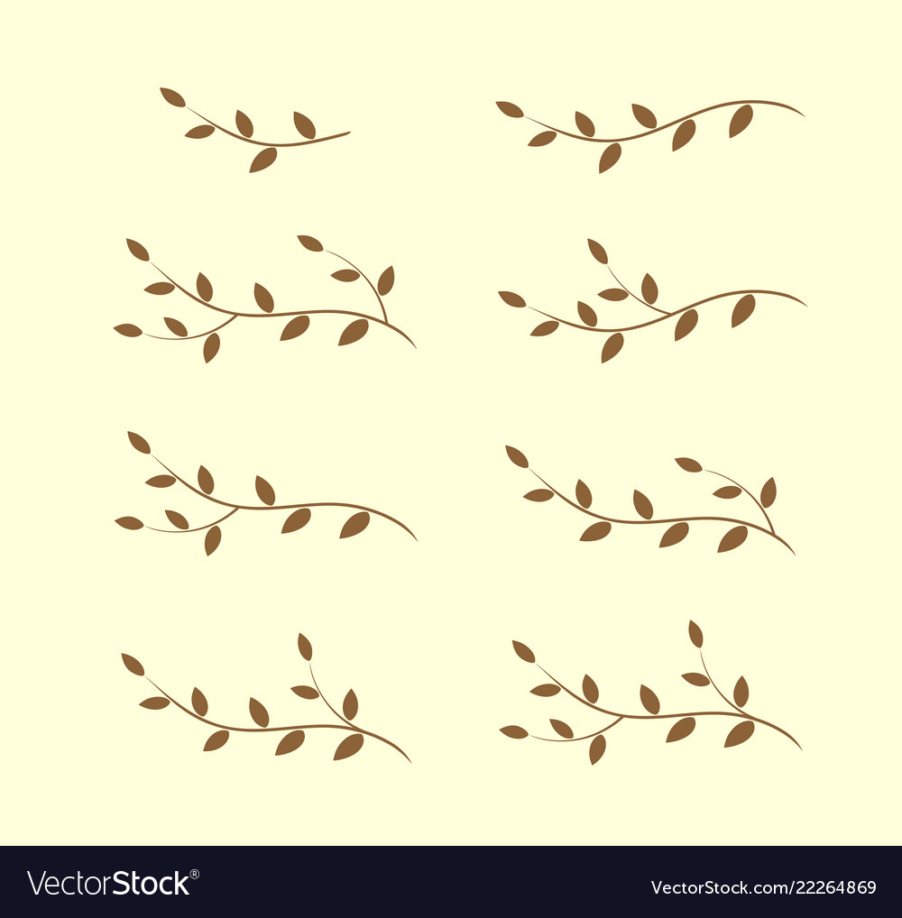 Isolated art vintage tree branches with leaves