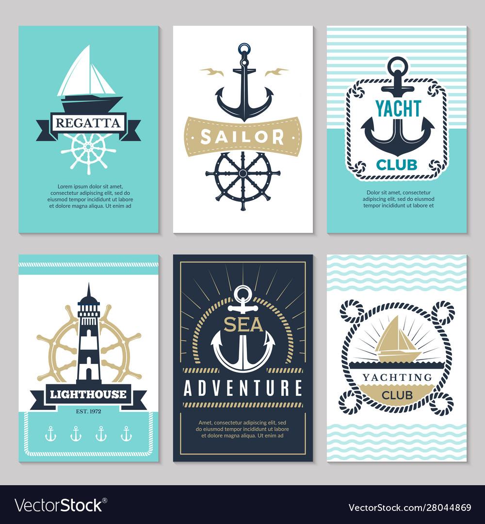 Nautical cards marine vintage logotypes sea rope