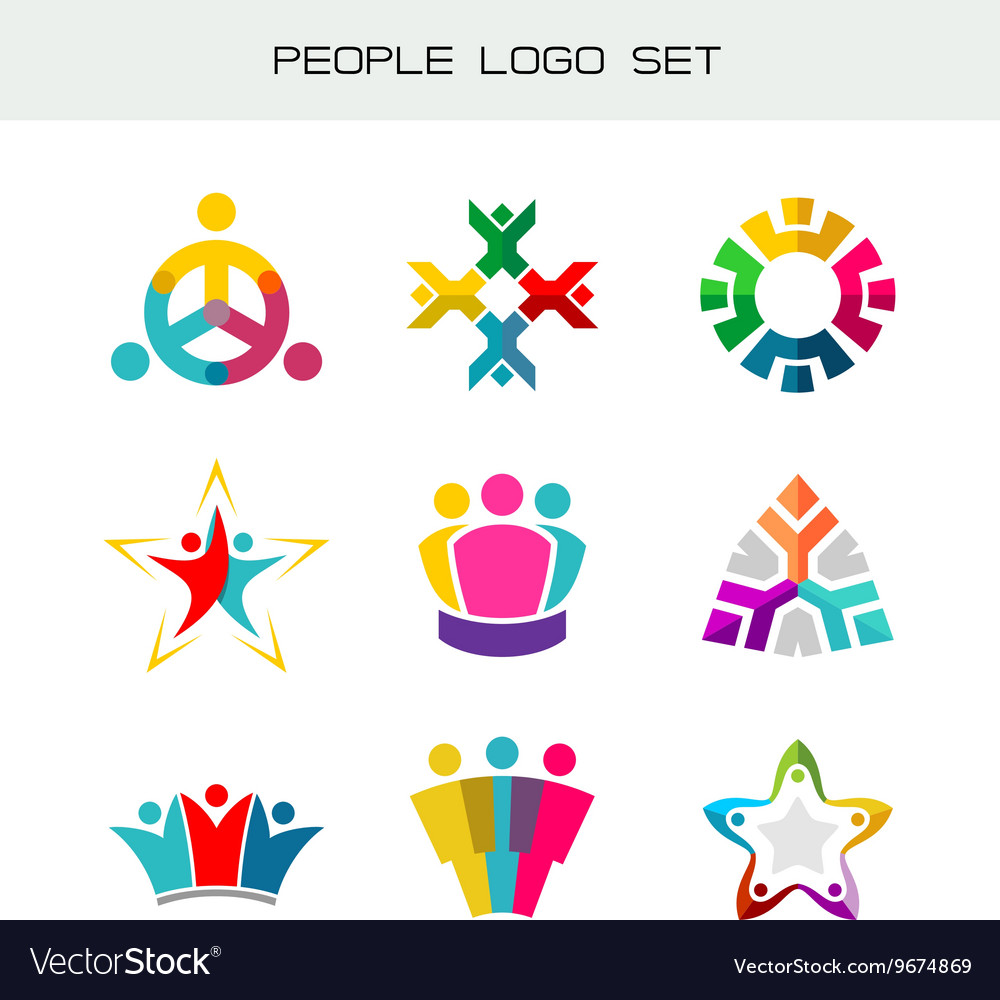 People logo set Group of two three four or five