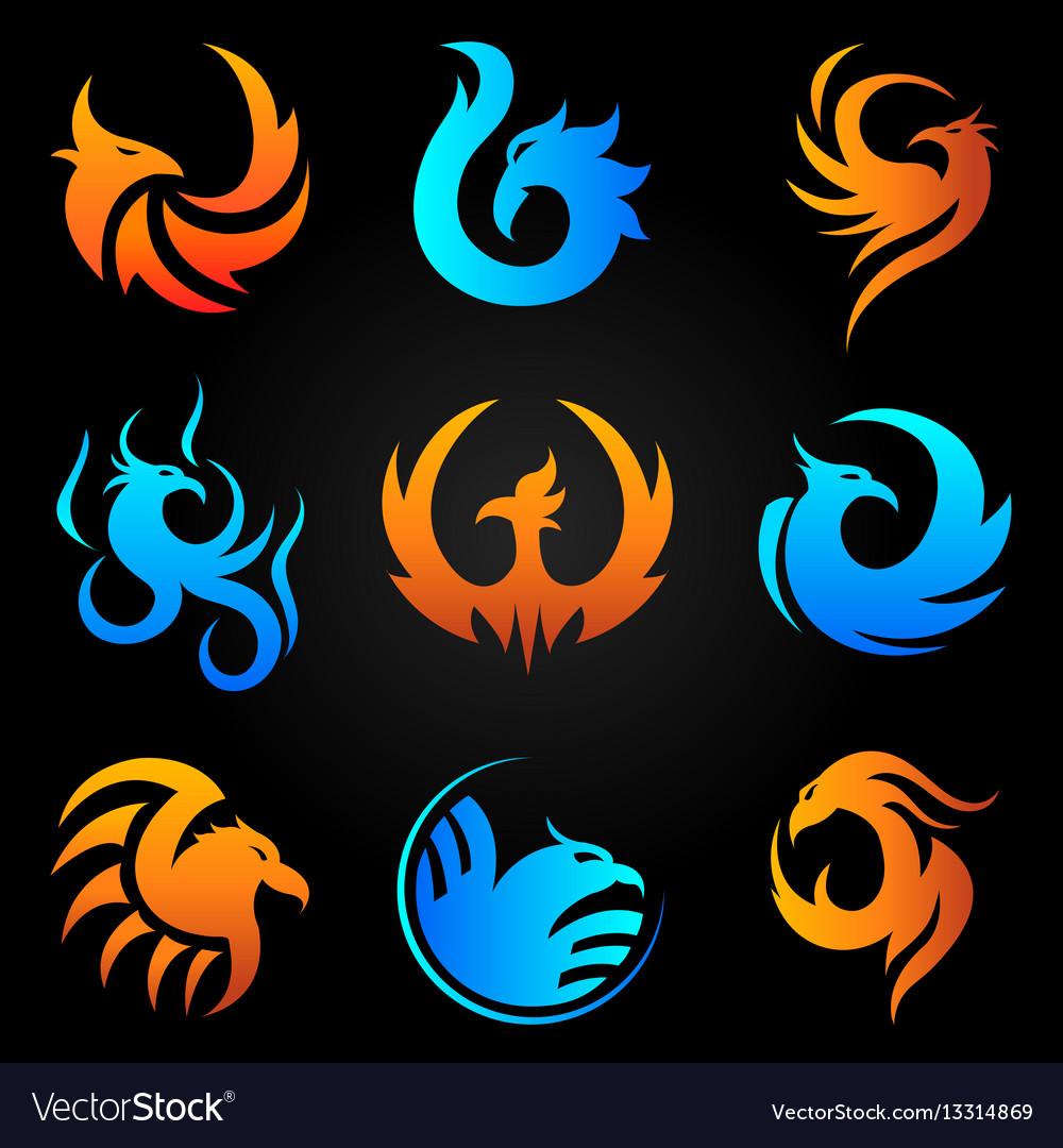Phoenix fire bird template icons set
