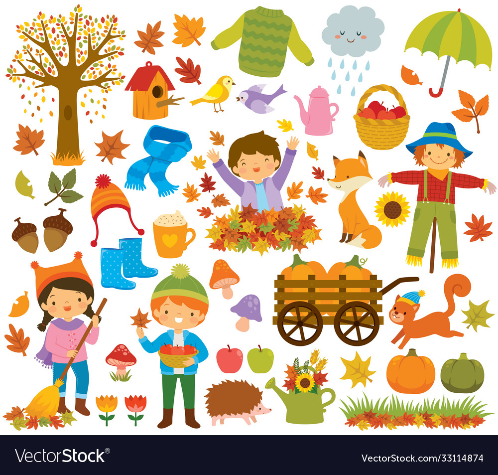 Autumn clipart set with kids and animals