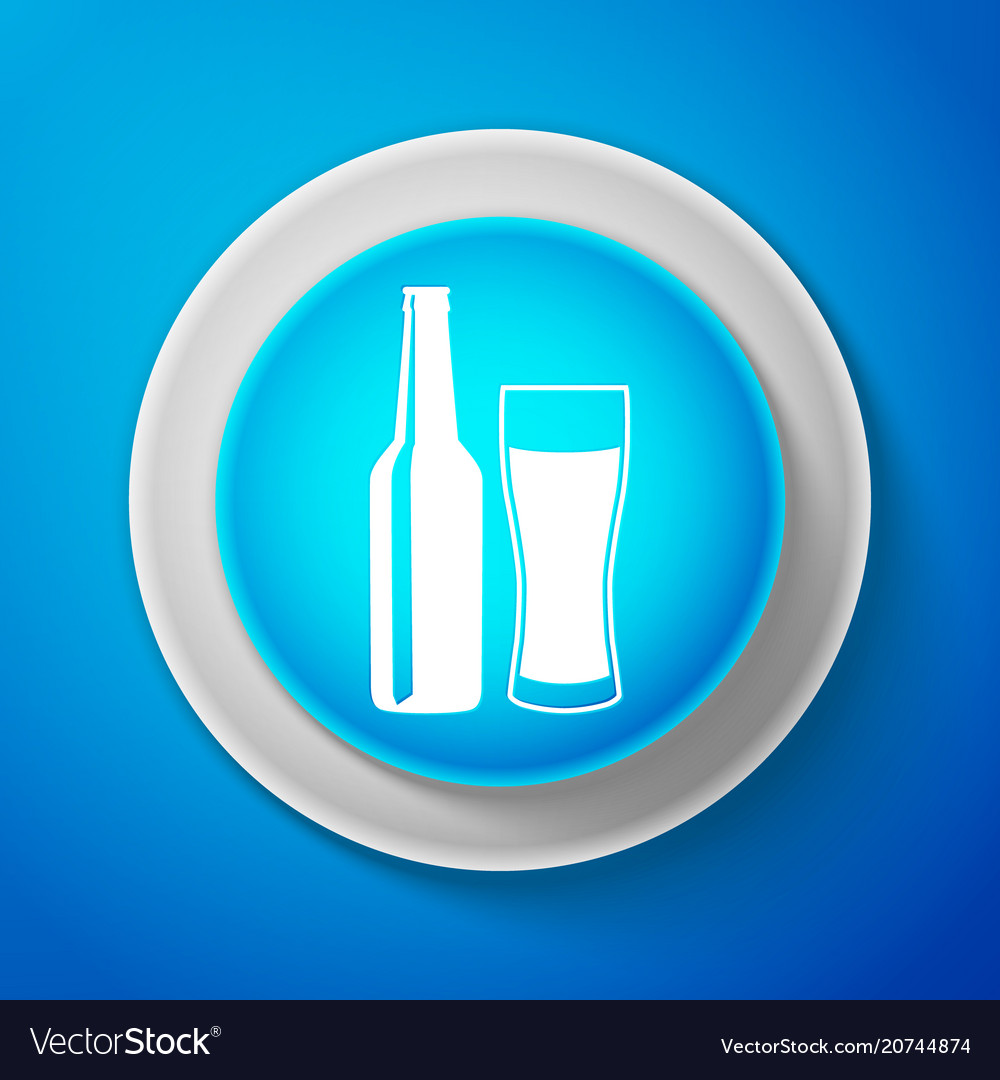 Beer bottle and glass icon alcohol drink symbol
