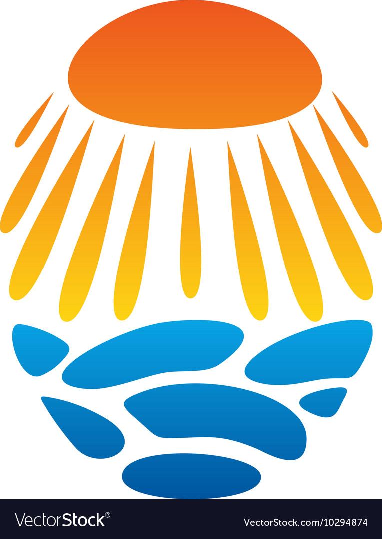Bright sun unusual logo beach abstract