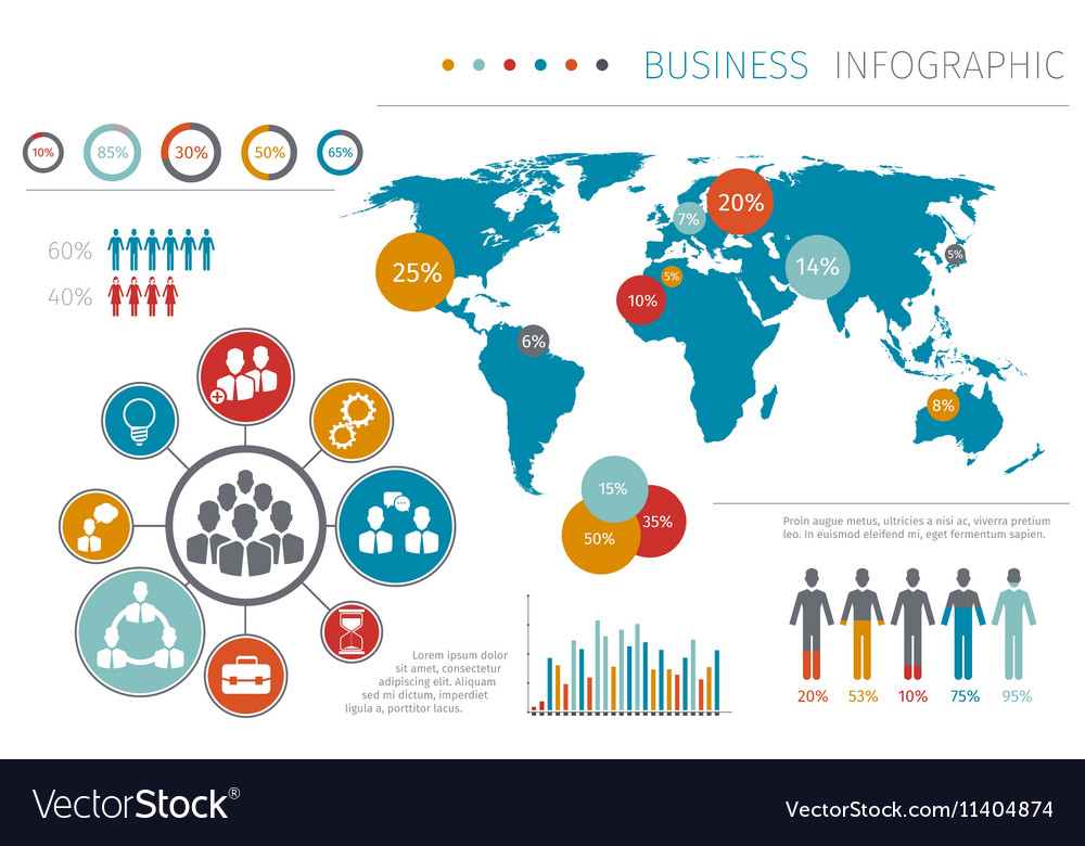 Business people world map infographic