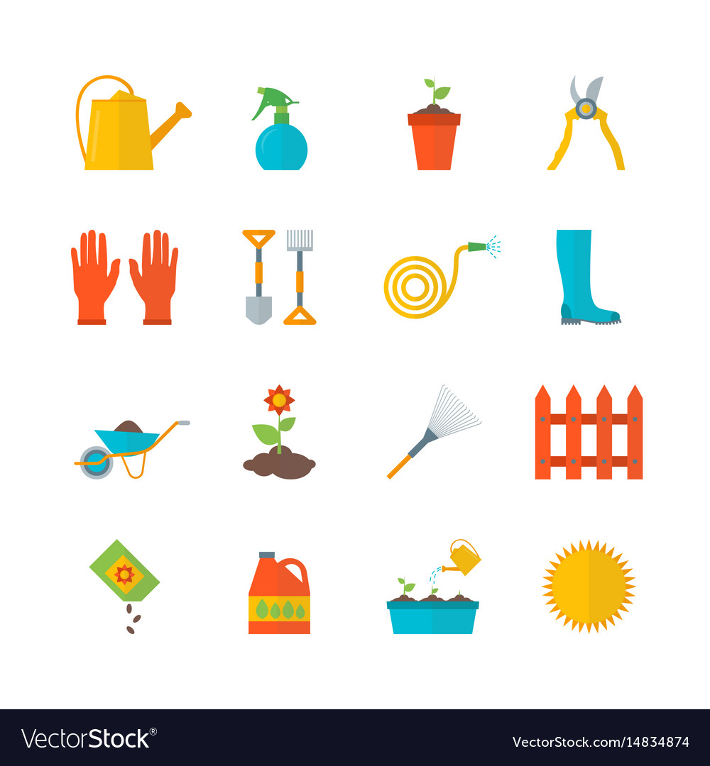 Cartoon gardening equipment color icons set