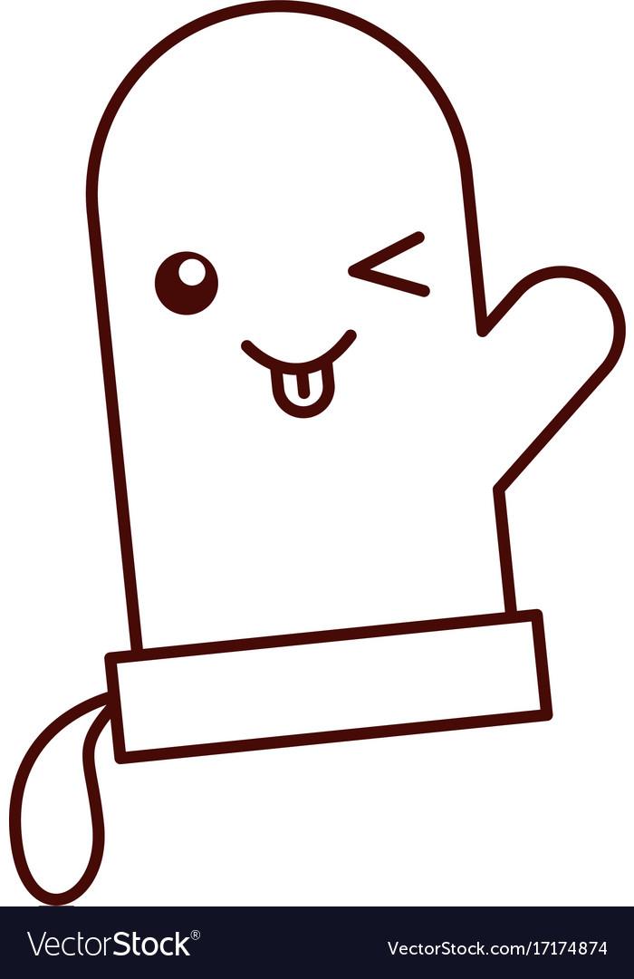 Cartoon glove character kitchen icon