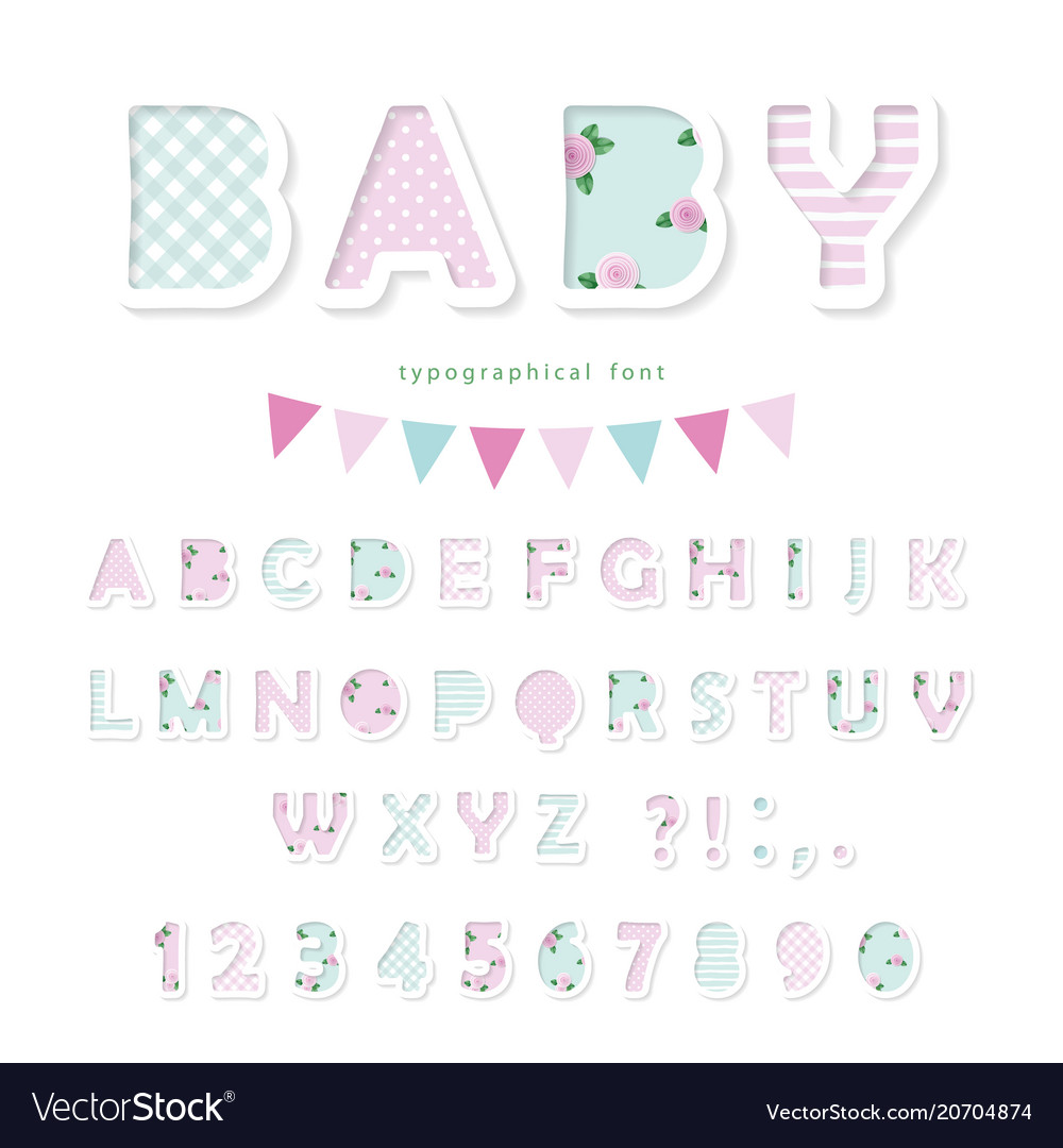 Cute textile font in pastel pink and blue for