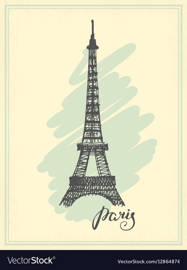 Eiffel Tower drawn in a simple sketch style