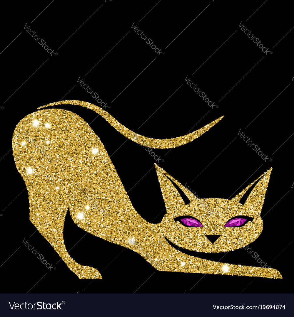 Golden cat with amethyst eyes