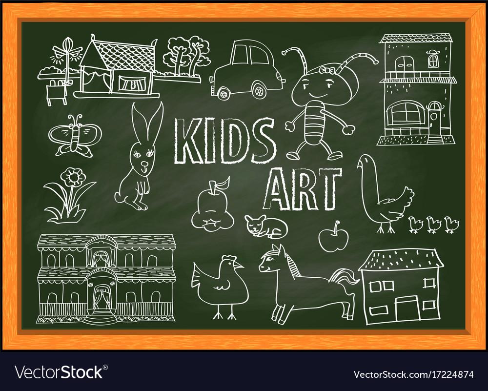 kids art doodle vector