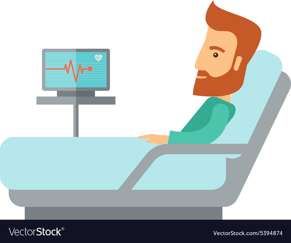 patient lying in the hospital bed royalty free vector image vectorstock