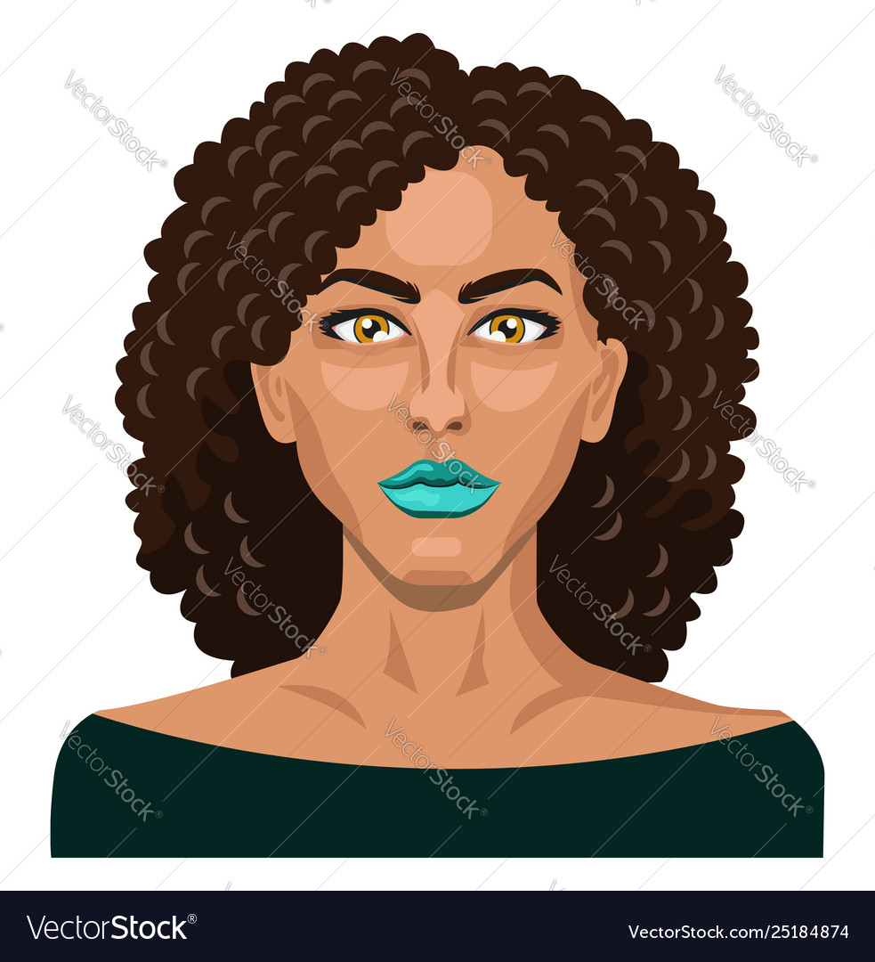 Pretty girl with curly hair on white background