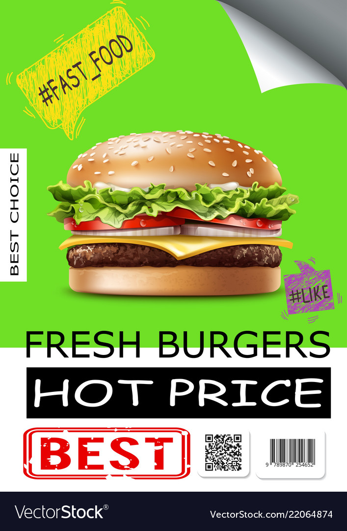 Realistic fast food advertising poster