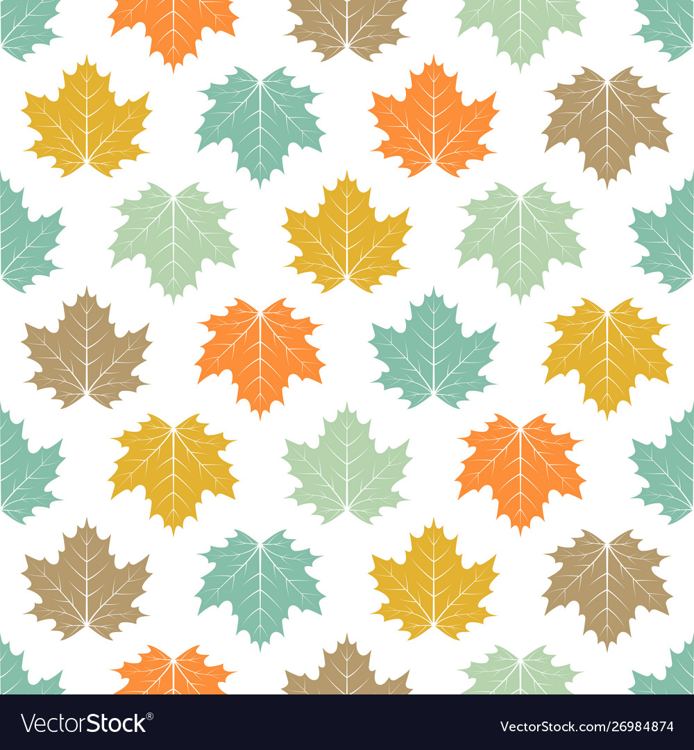 Seamless colored maple leaves pattern