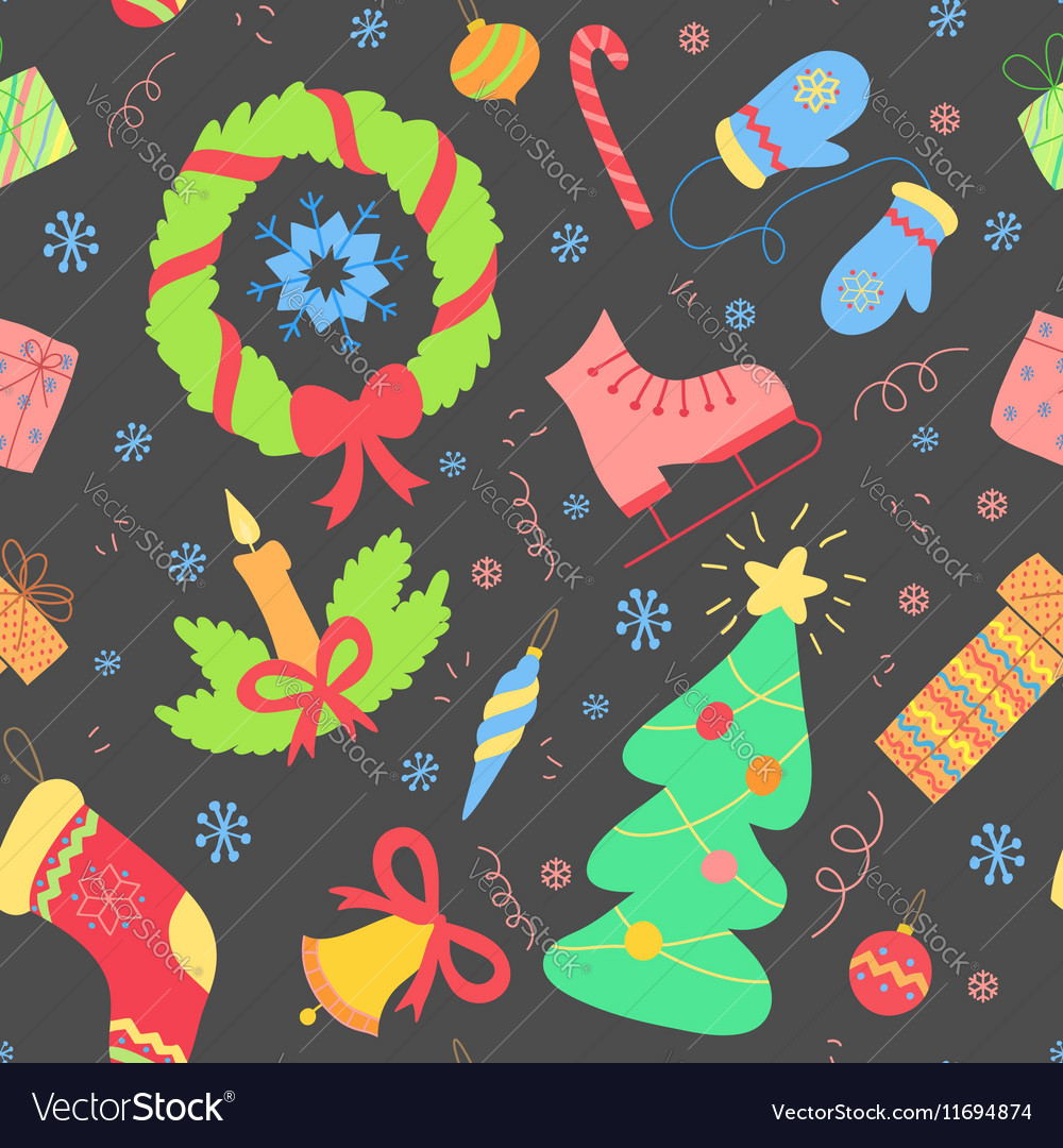 Seamless pattern with christmas elements New year