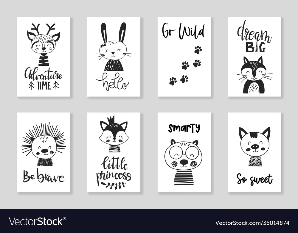 Set cute handdrawn monochrome animals in