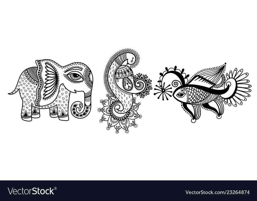 Set three hand drawing animals - elephant