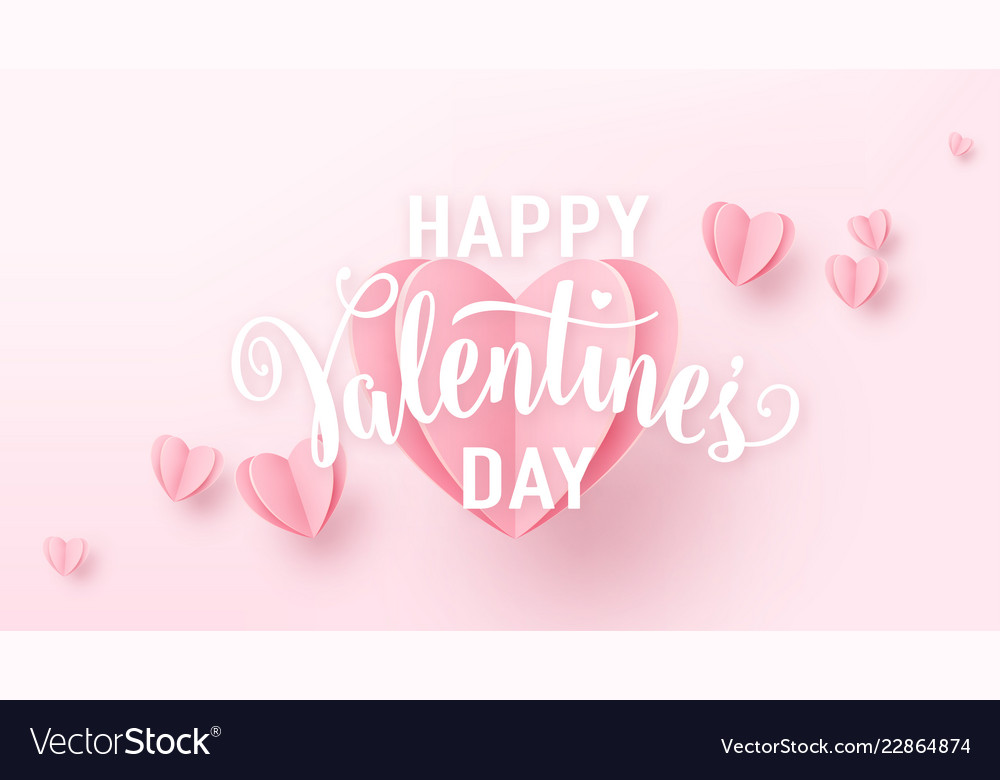 Valentines day background with light pink paper