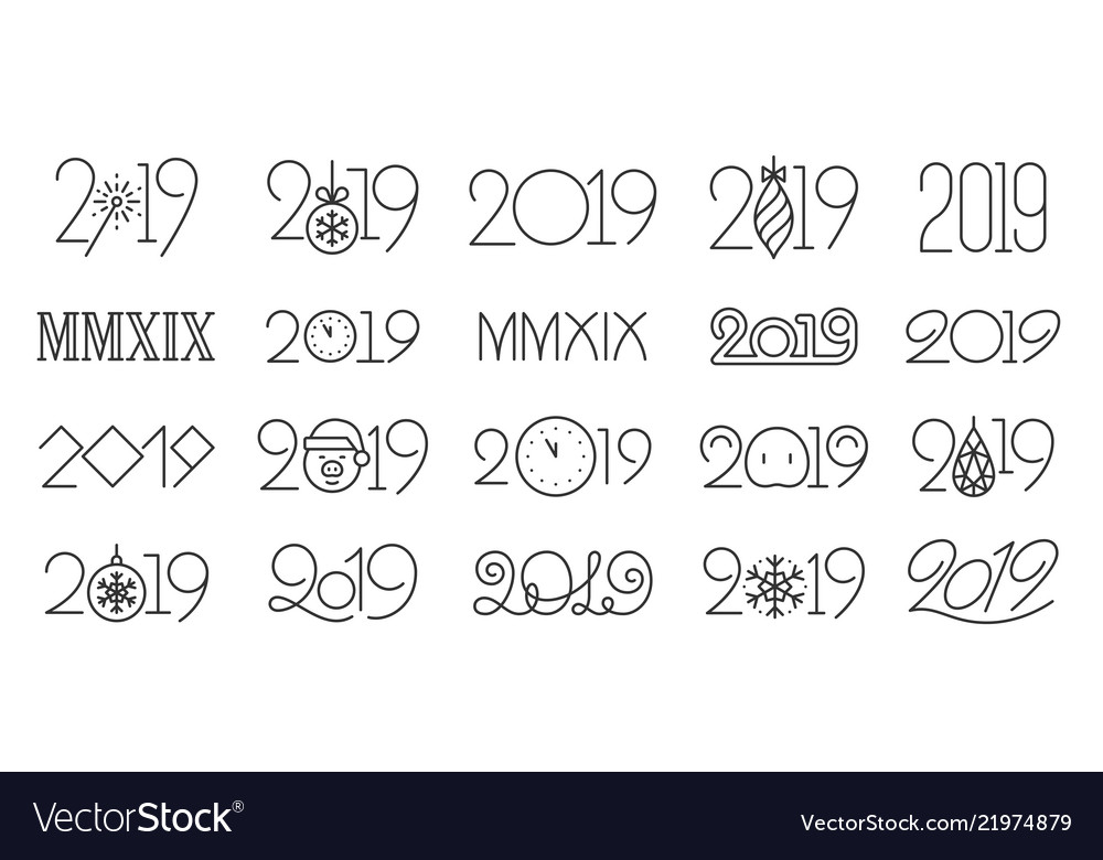 2019 year simple black line icons set