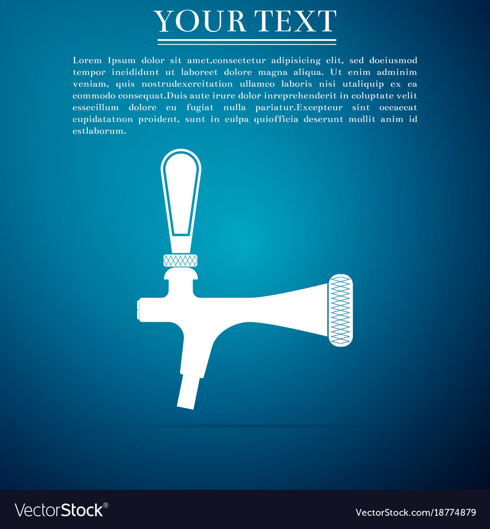 Beer tap icon isolated on blue background flat vector image