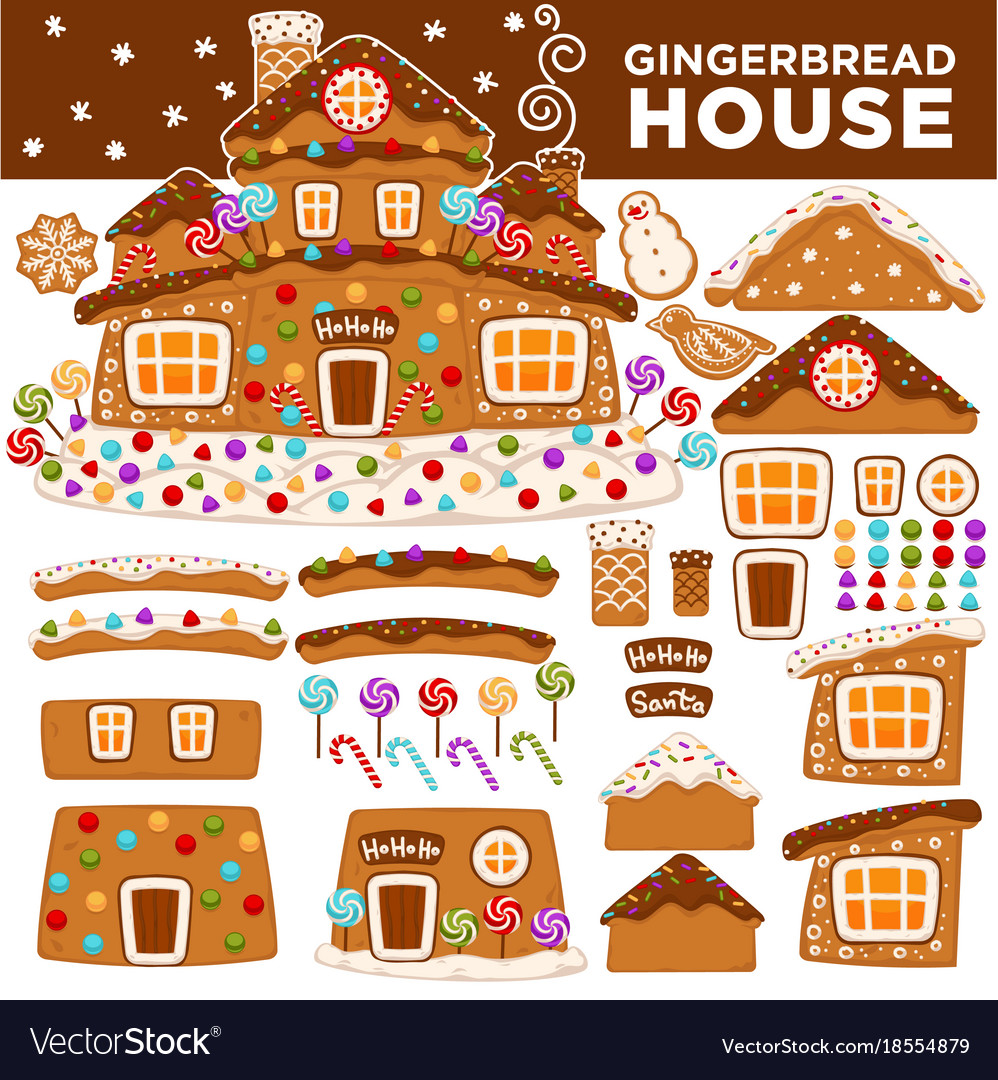 Christmas gingerbread house constructor cartoon