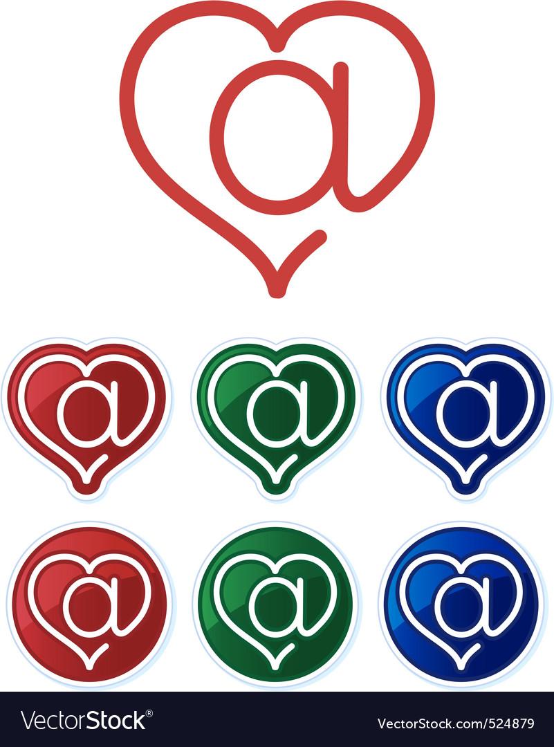 Email Heart Symbols Royalty Free Vector Image Vectorstock