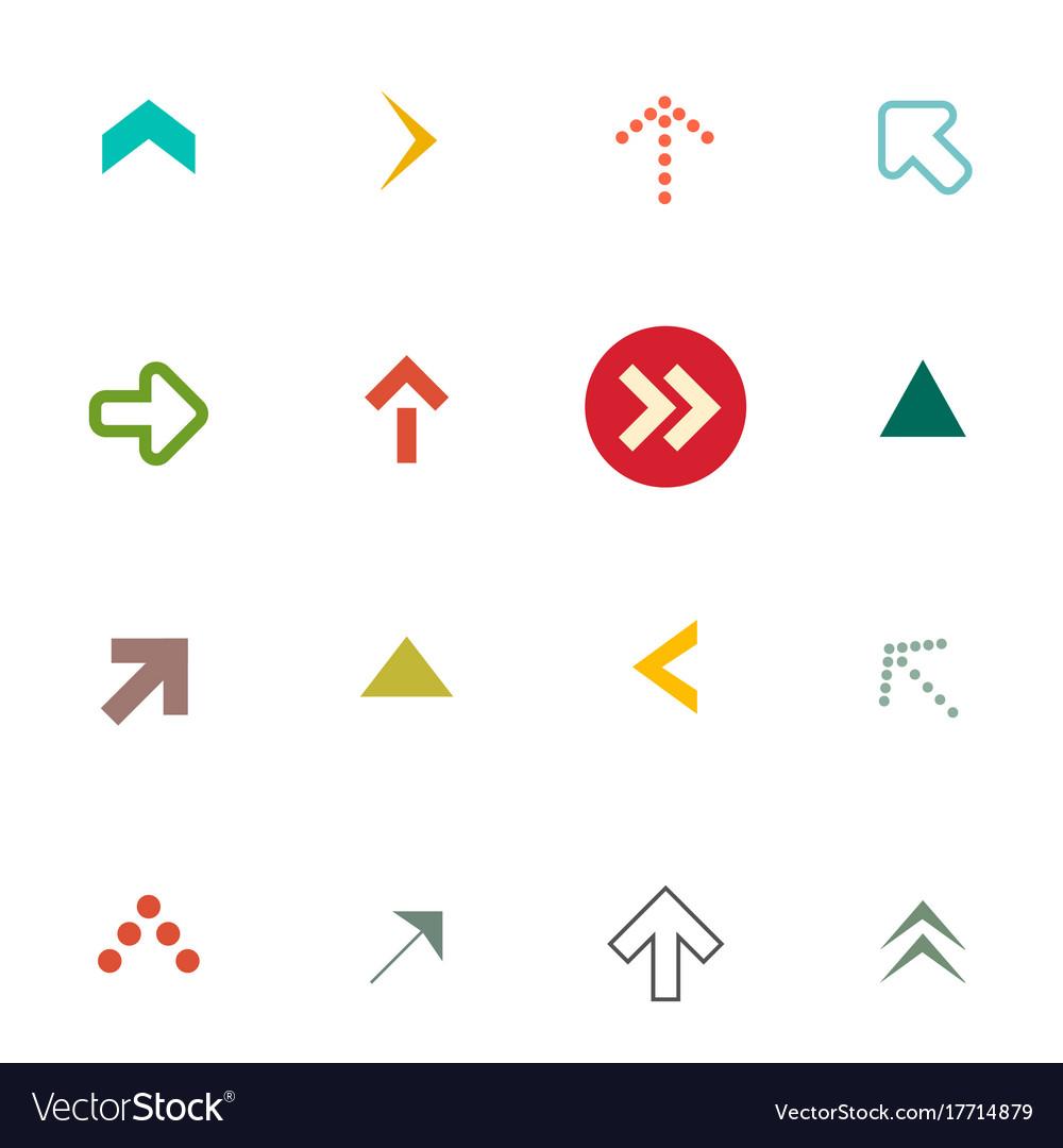 Flat arrows set arrow symbols isolated on white